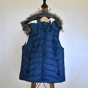 blue fur lined puffy vest with hood